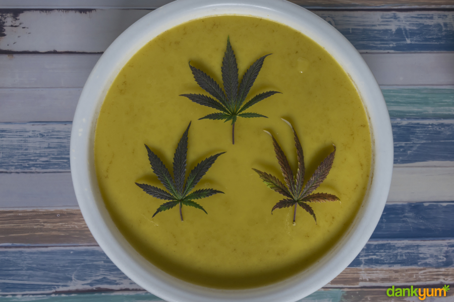 Cannabis Infused Butter with Leaves on Top