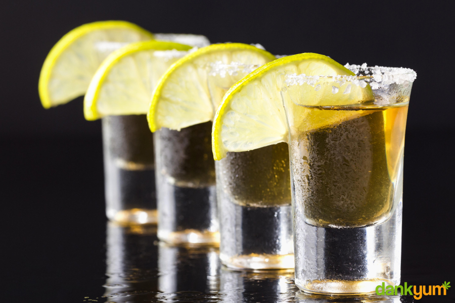 cannabis infused tequila shots with lemon and salt garnish